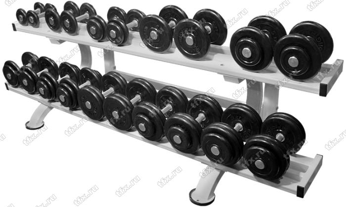 Обрезиненный гантельный ряд от 8,5 до 81 кг с шагом 2,5 кг